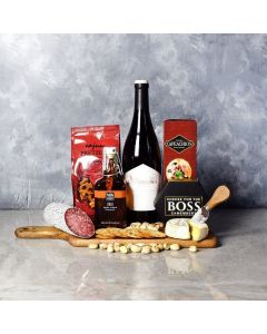 A Love for Heat, Wine & Cheese Basket