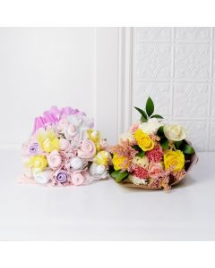 FLORAL & CUDDLY BOUQUET FOR THE BABY GIRL GIFT SET, baby girl gift hamper, newborns, new parents