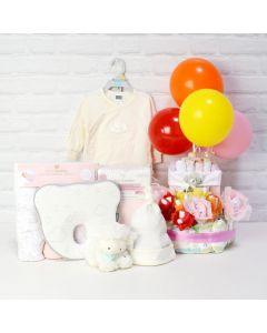 DELUXE CELEBRATION GIRL SET, baby girl gift hamper, newborns, new parents