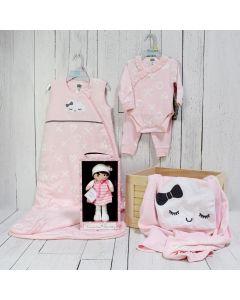 BABY GIRL WELCOME CRATE, baby girl gift hamper, newborns, new parents