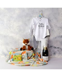 BABY PLAYTIME GIFT SET WITH CHAMPAGNE, baby boy gift hamper, newborn, new parents